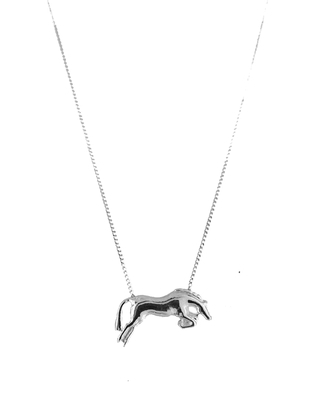 White Gold Jumping Horse Necklace