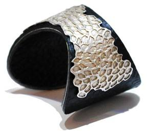 Black Leather and silver cuff