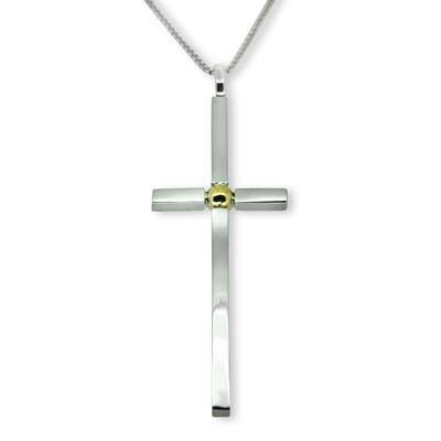 Silver & Gold Ball Cross (large)