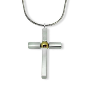 Handmade Silver & Gold ball Cross (medium)