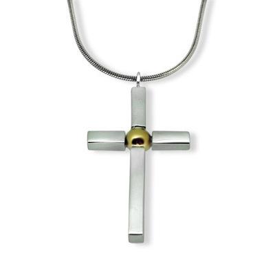 Silver & Gold ball Cross (medium)