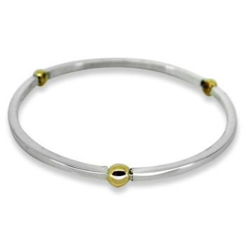 Silver and Treble 9ct Gold Ball Bangle