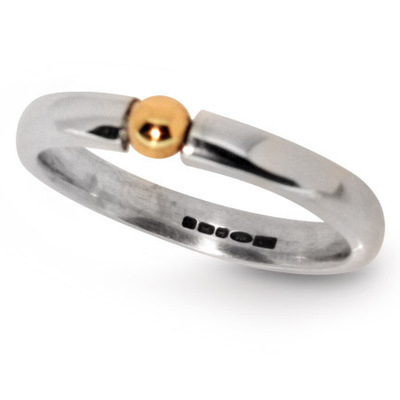 Slim Contemporary Silver with Gold Ball Detail Ring