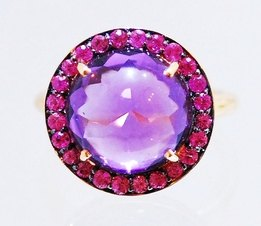 Contemporary amethyst and sapphire gemstone rose gold unusual cocktail engagement ring by jewellery designer Hans Rivoir