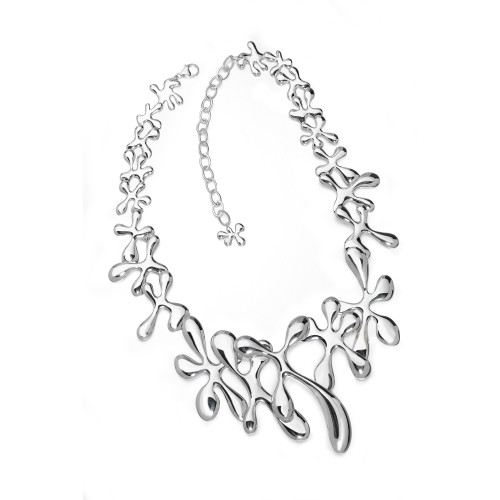 Large Splat Necklace, silver contemporary necklace by designer jeweller Luc