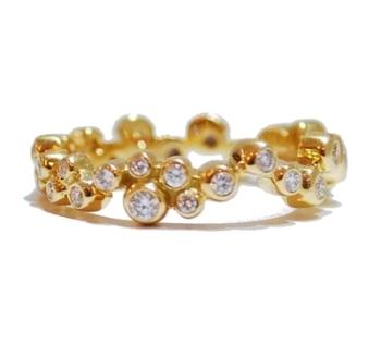 Yellow Gold Bubble Diamond Eternity Ring, .35 ct