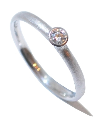White Gold Frosted Diamond Ring .10 carat