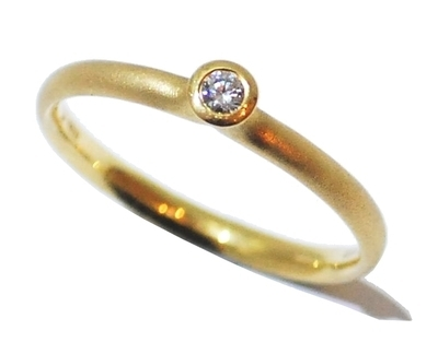 Simple Yellow Frosted Gold Diamond Engagement Ring by Rivoir