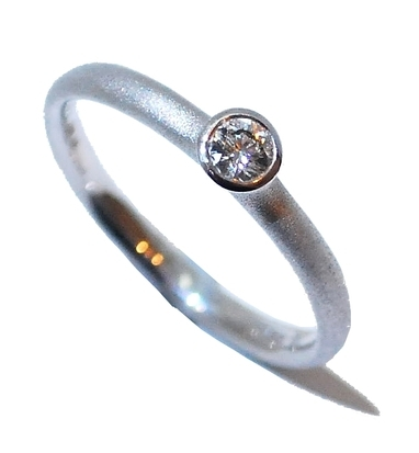 Designer engagement ring by Hans Rivoir, White gold frosted handmade ring or stacking ring