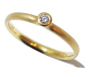 Designer - Rivoir yellow gold frosted handmade diamond enagagement ring