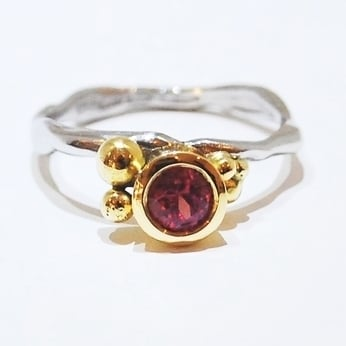 Handmade and Unique Organic Ruby Engagement Ring