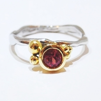 Handmade, unusual and unique organic ruby engagement ring