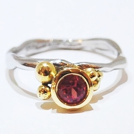 Handmade unique gemstone engagement ring by designer Nikki Galloway, Organic in style yellow gold and platinum