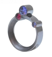 Purple And Pink Treble Stone Silver Orbital Ring