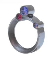 Purple And Pink Treble Stone Silver Orbital Ring