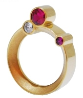 Pink And White Stone Orbit Ring Gold