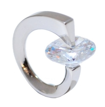 Crystal White Ultra Modern Silver Ring