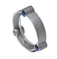 Three Blue Stone Silver Orbital Ring