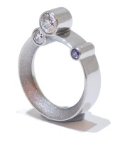 Purple Crystal Silver Orbital Ring