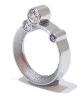 Purple Crystal Silver Orbital Ring