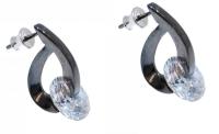Ultra Modern: Black Crystal Silver Earrings
