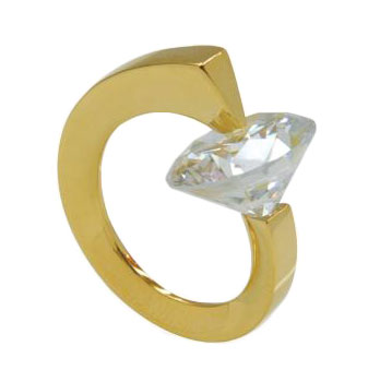 Unusual and quirky gold plated silver gemstone alternative engagement ring by jewellery designer Radek Szwed