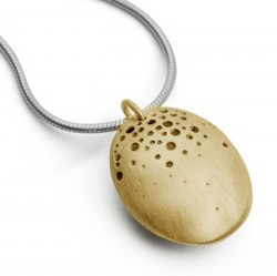 Gold pod necklace designer jewellery by Kate Smith ed