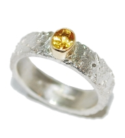 Unique Yellow Sapphire Gemstone Silver Ring