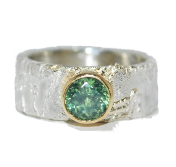 Stunning Silver with Green Zircon Gemstone Ring