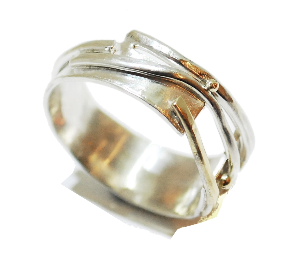 Gold And Silver Strand Ring