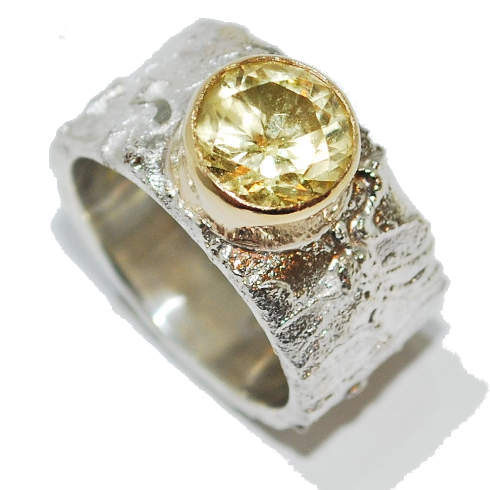 Yellow Beryl Gemstone Silver Ring