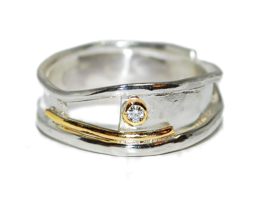 Organic Handmade Silver, Gold and Diamond Ring