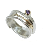 Purple Sapphire Silver with Gold Ring