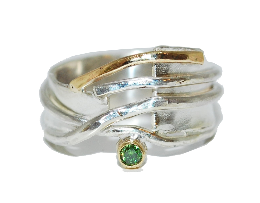 Green Sapphire Silver with Gold Ring
