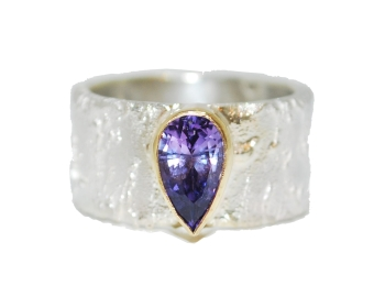 Purple Sapphire Silver Ring