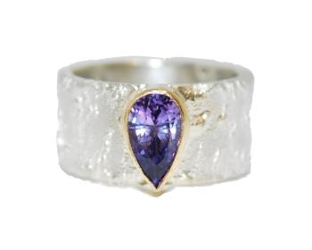 Purple Sapphire Silver Ring