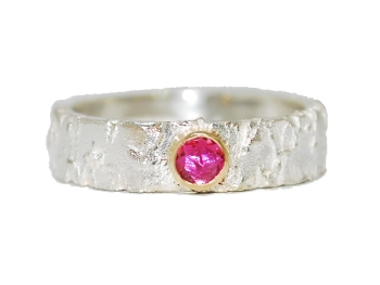 Silver Ring with Pink Rubelite Gemstone