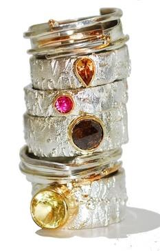 Gemstone stack of rings2