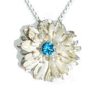 Silver Blue Topaz Cornflower Pendant