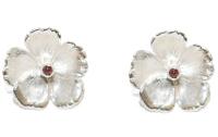 Silver Rose Pink Tourmaline Earring Studs