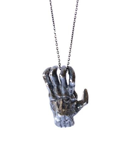 dovile b creepy hand pendant unusual jewellery by desiger Doville B