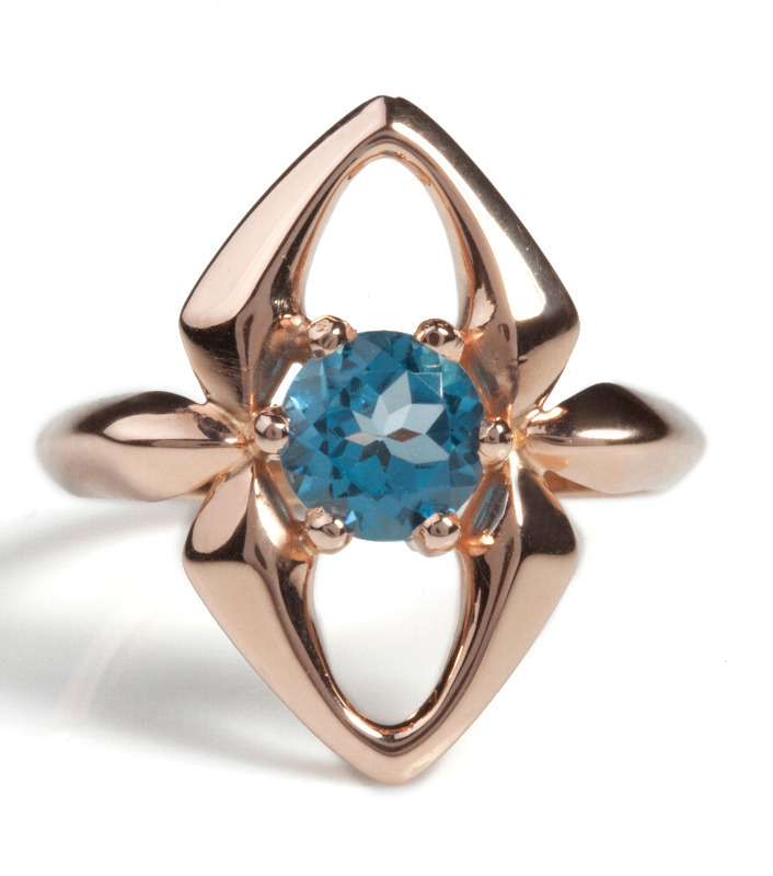 firefly ring blue topaz, unusual and quirky ring by jewellery designer Faye Marie