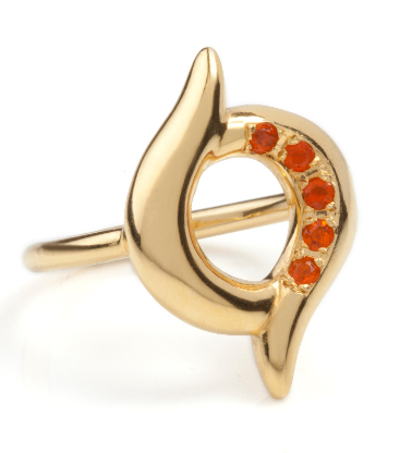 fire opal ring - quirky gold ring by jewellery designer Faye Marie