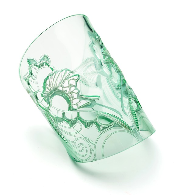 Glass Effect Laser Cut Acrylic Cuff, quirky and unusual designer jewellery