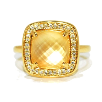 Citrine Gemstone and Diamond Ring