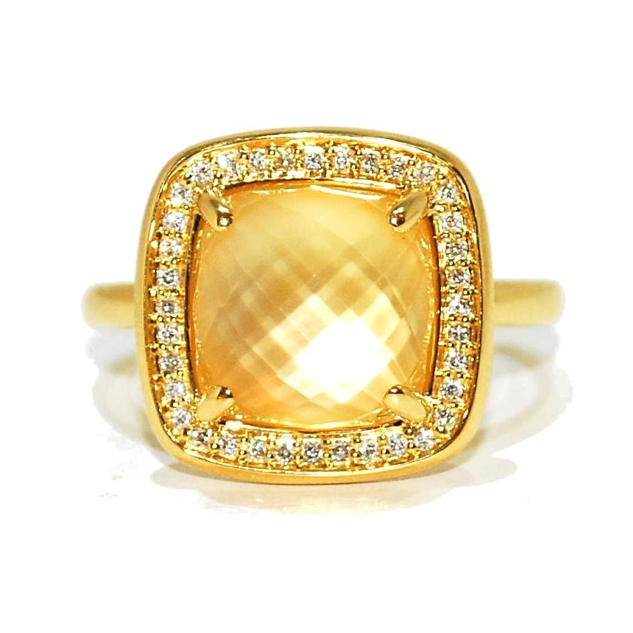 Citrine and Diamond gemstone engagement Ring