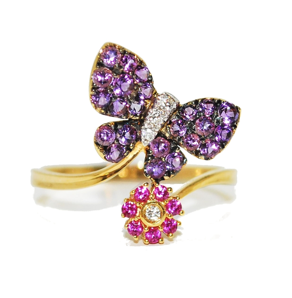 Quirky Amethyst and Sapphire Gemstone Butterfly Engagement Ring
