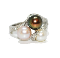 Unusual Three Cultured Pearl Ring with Diamonds