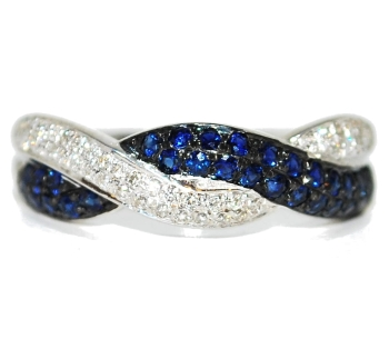 Unusual Sapphire and Diamond Eternity Ring