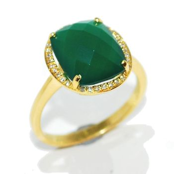 Green chalcedony and Diamond Ring